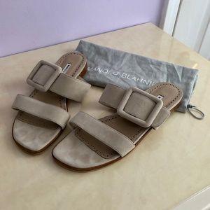 Manolo Blahnik Tituba Flat Sandals Beige Suede